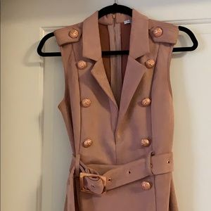 Pink Suede Midi dress with Gold buttons and belt
